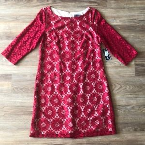 Jessica Howard Red Lace Dress Size 12 NWT